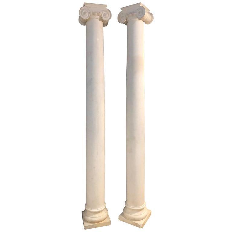 Pair of Columns Having Corinthian Carved Capitals Composite or Fiberglass For Sale