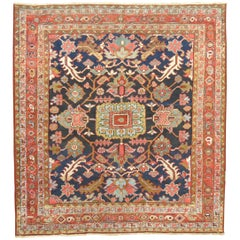 Square Antique Navy Blue Heriz Rug