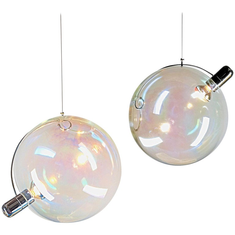 Carlo Nason Lumenform, Two Sona Lamps Iridescent Murano Glass Anticipates Modern 1