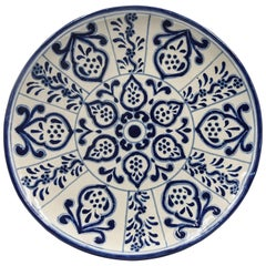 Authentic Talavera Decorative Plate Folk Art Dish Mexican Ceramic Blue White