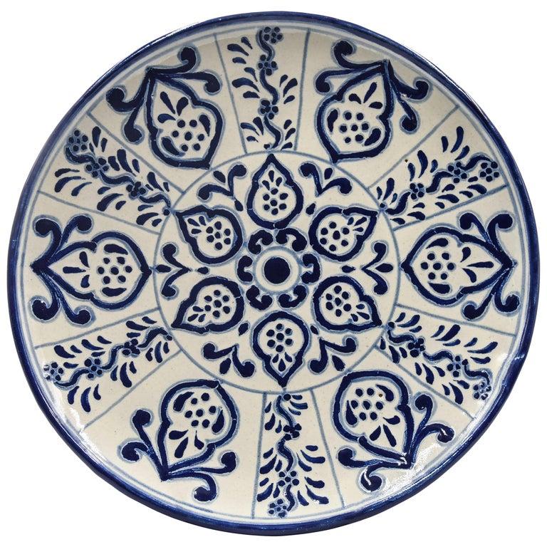Authentic Talavera Decorative Plate Folk Art Dish Mexican Ceramic Blue White 1