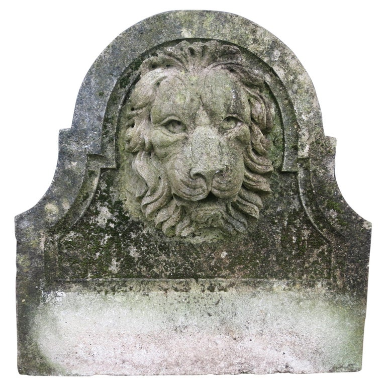 Lion Head Cast Stone Fountain Back For Sale