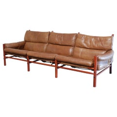 Arne Norell Model Kontiki Brown Leather Sofa