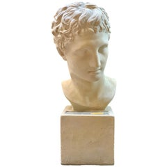 French Neoclassical Plaster Bust of Young Man with Light, circa 1970