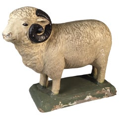 Paper Mache Toy Sheep, French, 19th Century