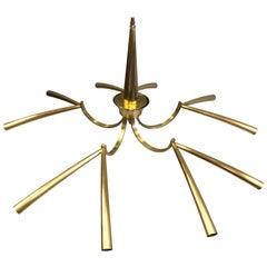 Italian Midcentury Sunburst / Star Form, 10 Arm, Brass Chandelier by Stilnovo