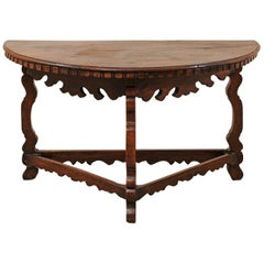 Handsome 18th Century Italian Carved Walnut Wood Demilune Table