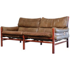 Arne Norell Model Kontiki Brown Olive Leather Sofa