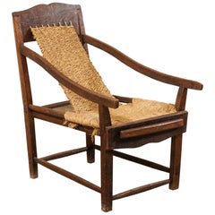 Italian Sling Lounge Chair w/ Rush Seating & Extendable Foot rest, Early 20th C.