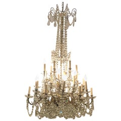 Palatial 19th-20th Century Thirty-Light Crystal and Brass Column Form Chandelier