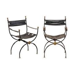 Pair of Antique Italian Savonarola Chairs with Black Leather