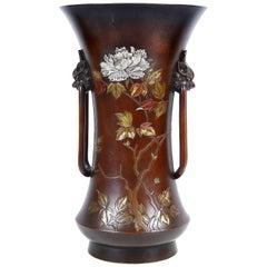 Meiji Period Japanese Bronze Overlay Vase