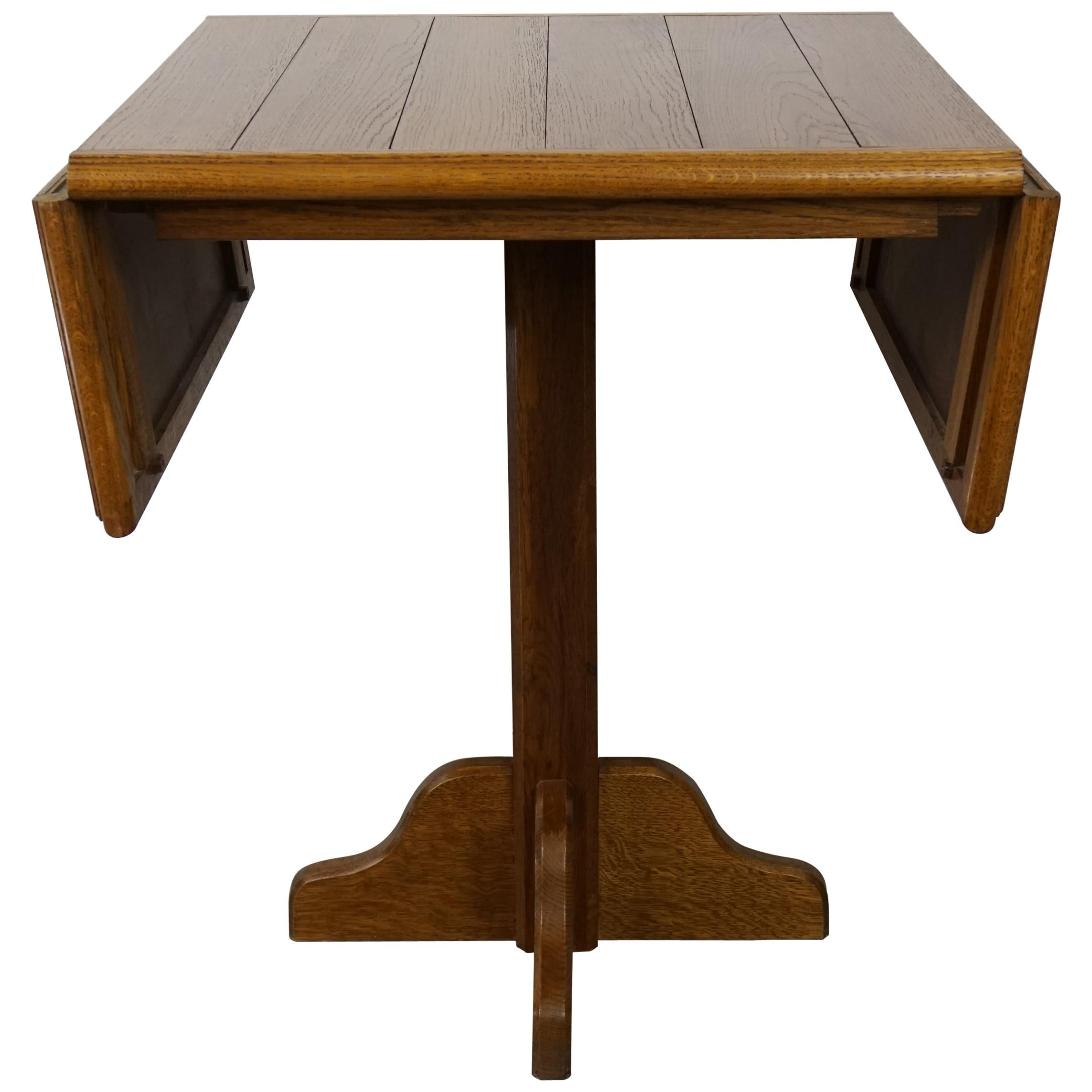 Oak Wooden 1960s French Design Folding and Dining Table