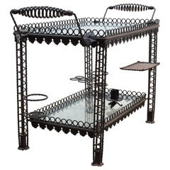 Brutalist French Wrought Iron End Table, Bar Cart, 1950s