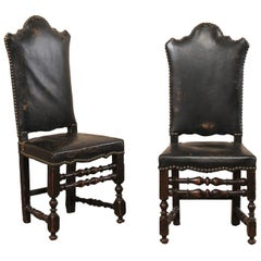 Pair of 18th Century Italian Leather and Walnut Tall Back Hall Chair