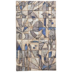 Blue Shades Glazed Ceramic Tile Panel, Belgium, 1960s