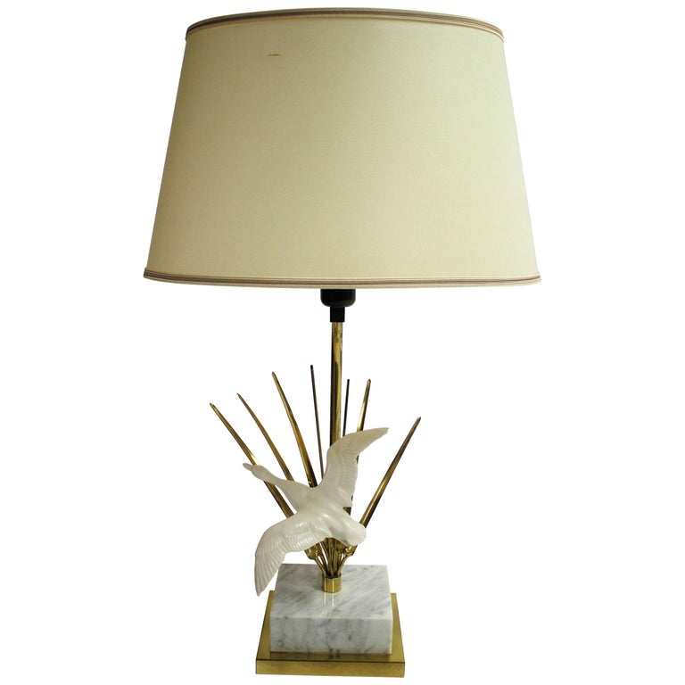 Vintage Brass Bird Table Lamp, 1970s For Sale