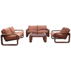 Rosenthal Model Hombre Living Suite Leather Sofa and Chair by Burkhart Vogtherr