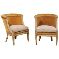 Pair of Antique French Bergères Barrel Back Club Chairs
