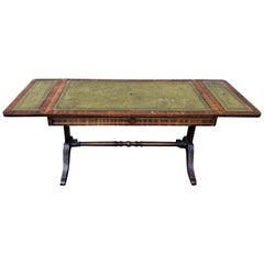 Regency Wood Low Coffee Green Leather Foldable Table