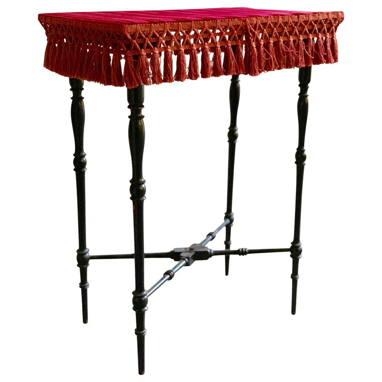 Early 20th Century French Occasional Table with Velvet Top For Sale