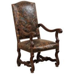 20th Century Italian Richly Carved Wood Chair with Embossed Leather