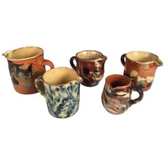 Collection of 5 Small Jaspe' Cups and Pitchers, French, 19th Century