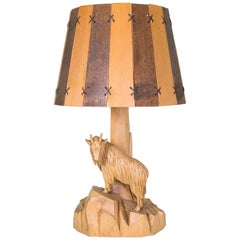 Mountain Goat Carved Lamp