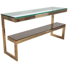 "Dewulf Selection Gold-Plated and Glass ""G"" Console-Hall Table for Belgochrom"