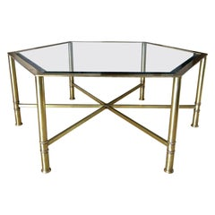 Mastercraft Hexagon Brass Glass Cocktail Coffee Table