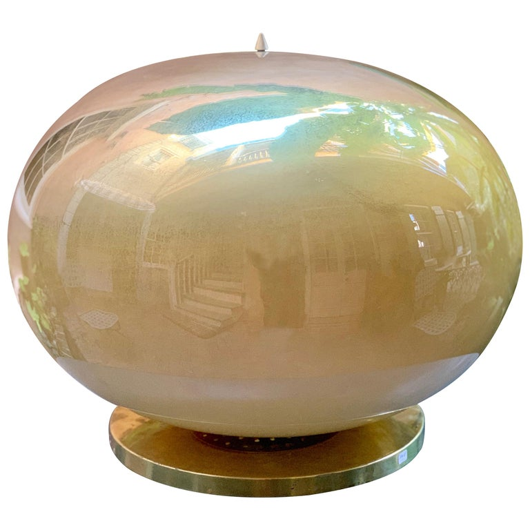 Pair of Murano Glass Globe Lamps on Brass Bases, circa 1950 For Sale