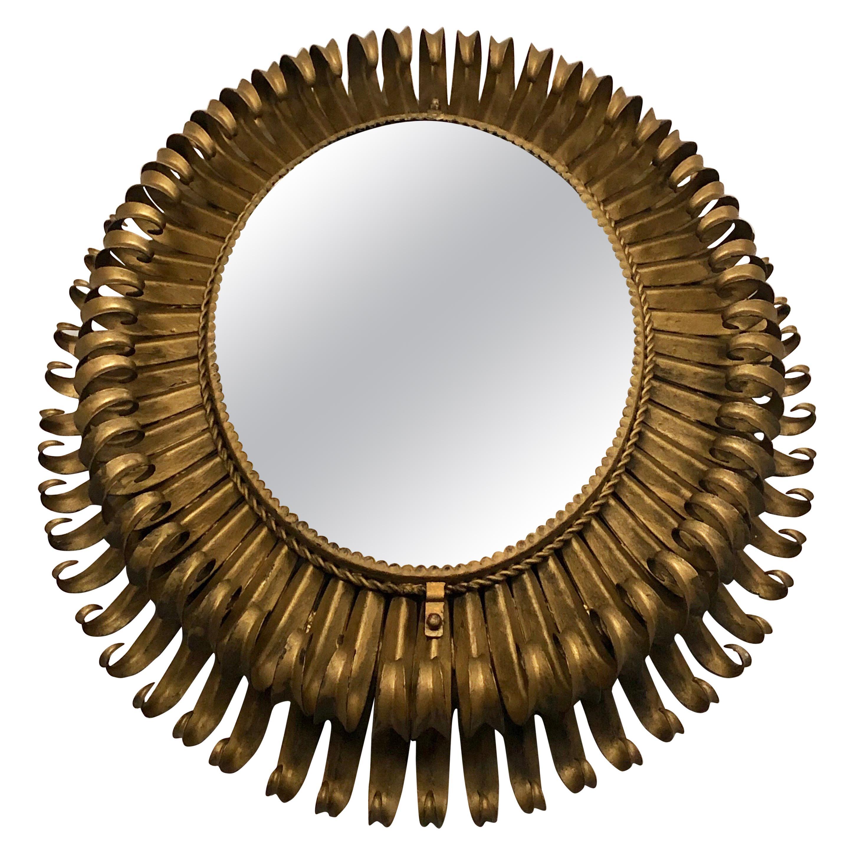 French Midcentury Oval Gilt Iron Sunburst or Wall Mirror