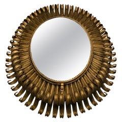 French Midcentury Oval Gilt Iron Sunburst or Wall Mirror