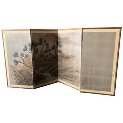 Mid-century Asian Silk Hand Painted Tabletop Screen