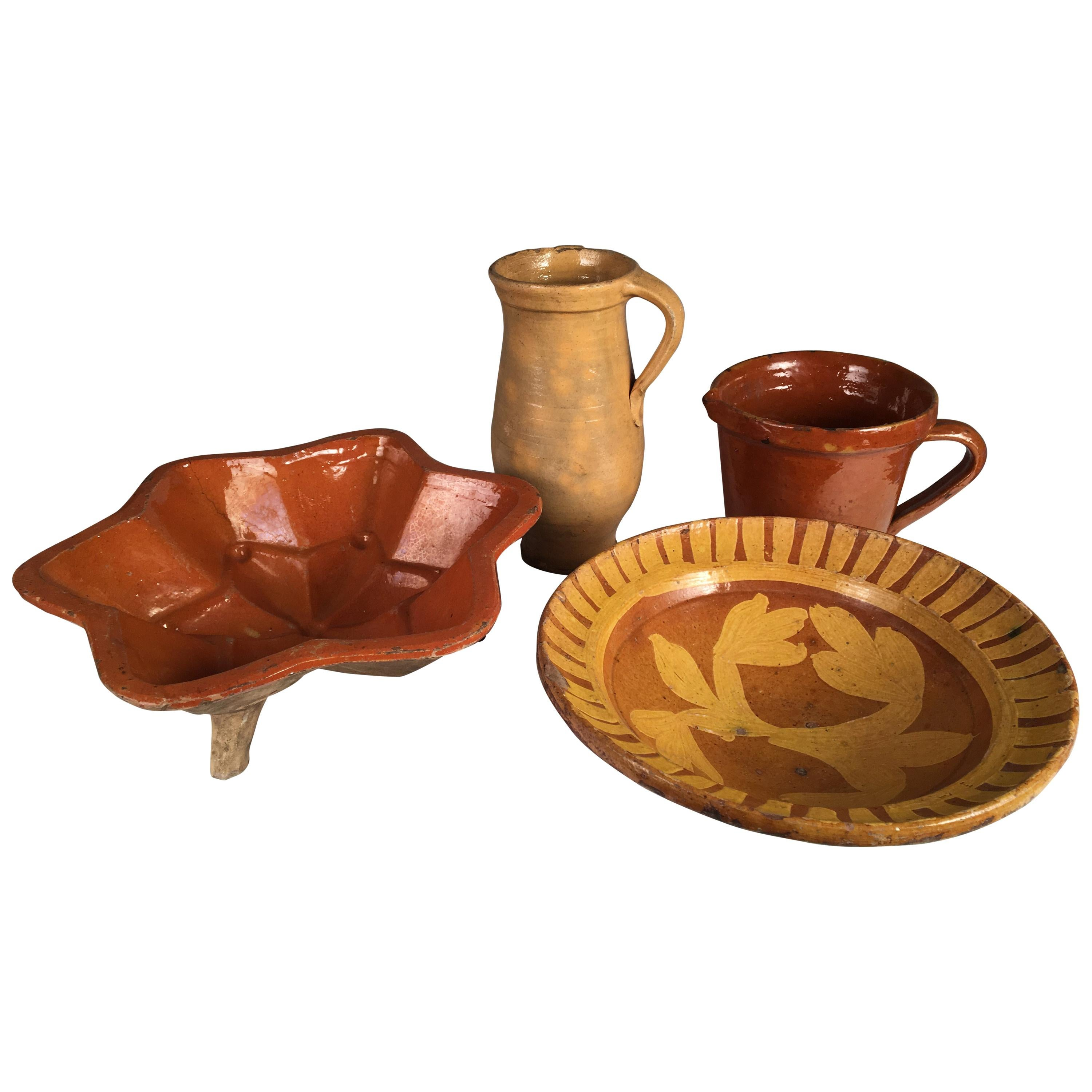 Collection of 4 Pottery Items, French 19th Century