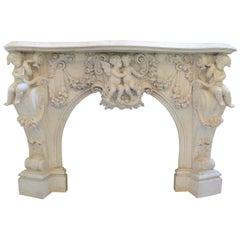 Very Important Palatial Finely Carved Italian Carrara Marble Mantel Piece