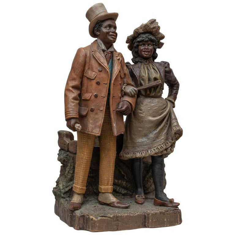 Austrian Terracotta Cigar Holder with Collectible Black Figures, Signed BB For Sale