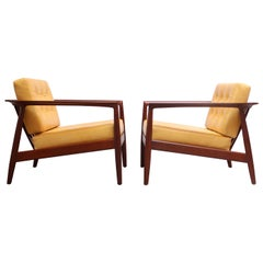 Swedish Modern Leather and Teak Lounge Chairs by Folke Ohlsson for DUX