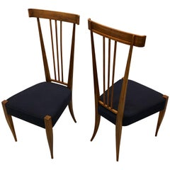 Pair of Italian Midcentury Walnut Side Chairs, Circle of Gio Ponti