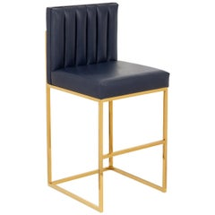 Modern Barstool in Brass and Navy Genuine Leather with Channel Tufted Back