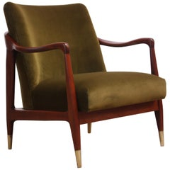 Midcentury Italian Modern Sculpted Walnut and Velvet Lounge Chair