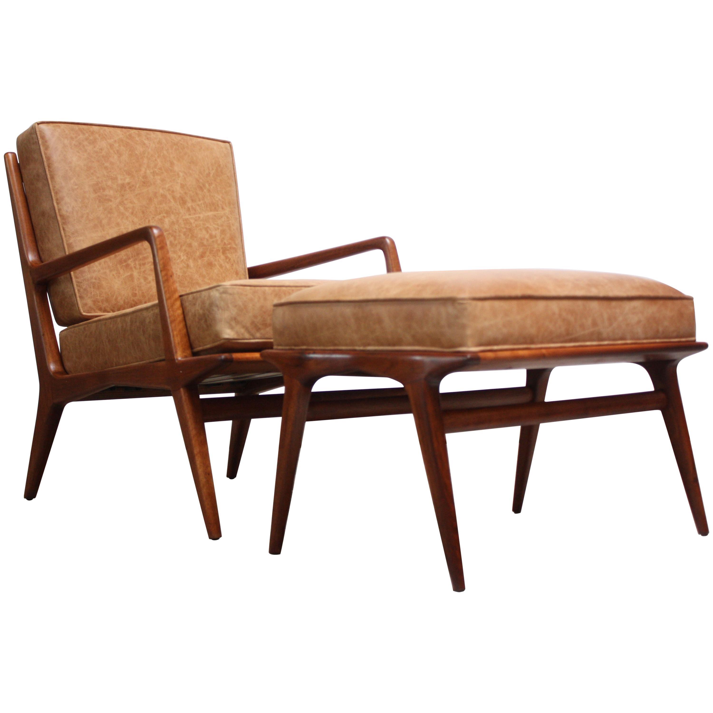 Italian Modern Carlo de Carli Lounge Chair and Ottoman in Walnut and Leather