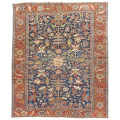 Antique Navy Ground Room Size Heriz Rug