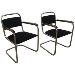 Dutch Design, Set of Original Tubular Chairs with Black Upholstery, circa 1930