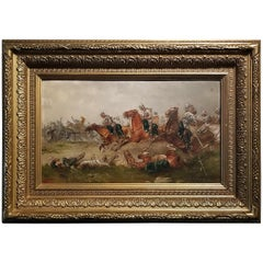 Franco Prussian War Oil on Board by G. Thorsbaek, 1897