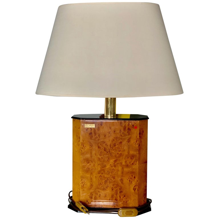 French Walnut Lamp with Brass Hardware and an Oval Shade, circa 1970 For Sale