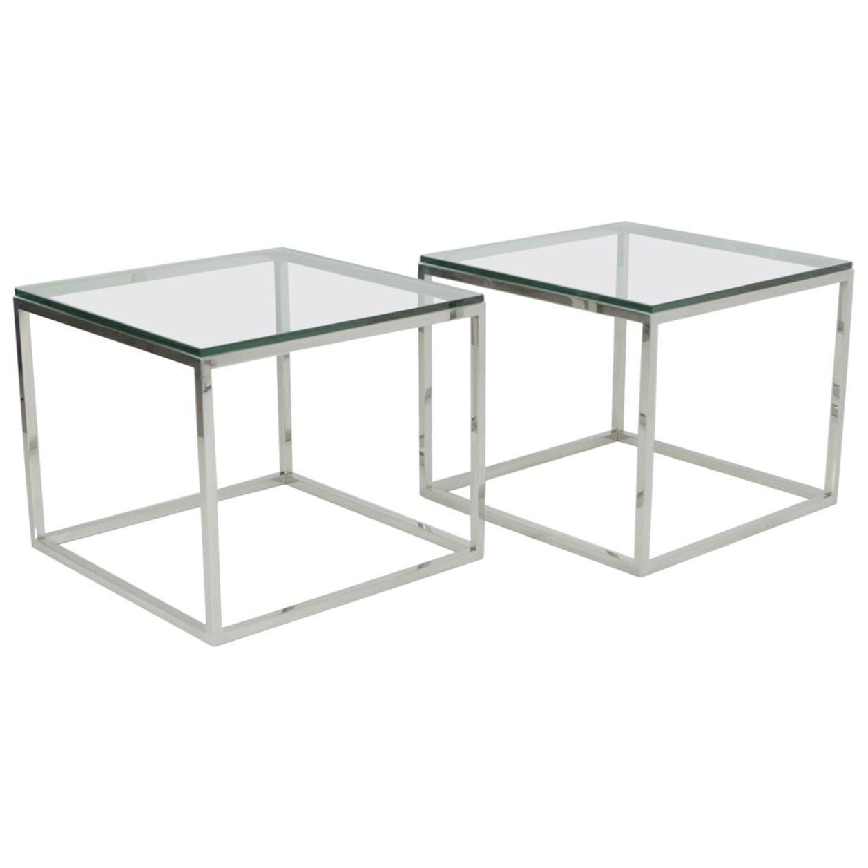 Mid-Century Modern Pair of Milo Baughman Style Chrome Glass Square End Tables