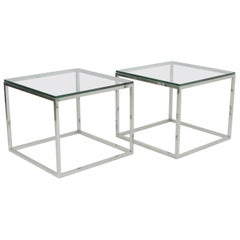 Mid-Century Modern Chic Pair of Milo Baughman Chrome and Glass Square End Tables