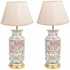 Pair of 19th Century Rose Medallion Vases or Lamps