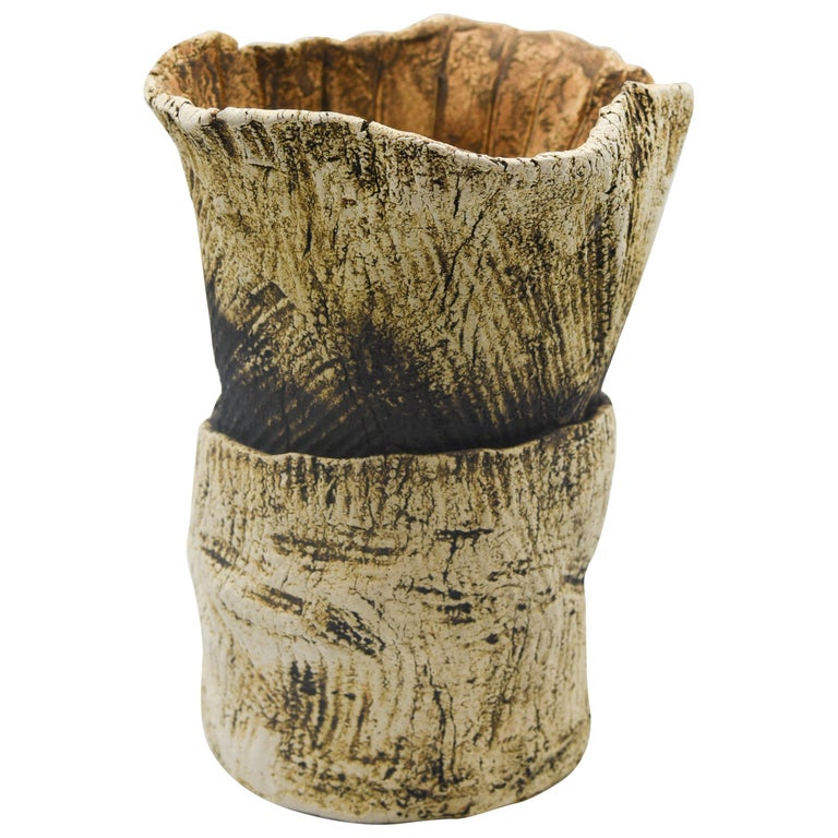 Ceramic Plant Clay Terracotta Mexican Design Abstract Organic Form Vase Handmade For Sale